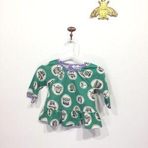 Baby Boden green tea party long sleeve shirt 0-3 m